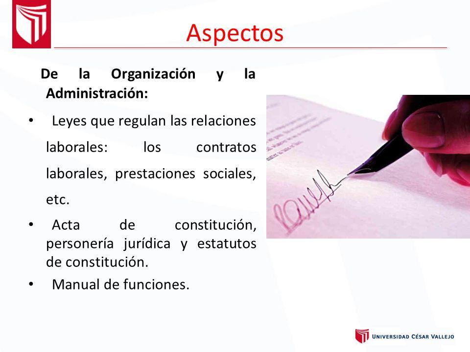 Aspectos De la Organización y la Administración: