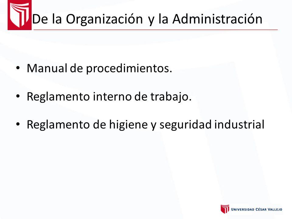 De la Organización y la Administración