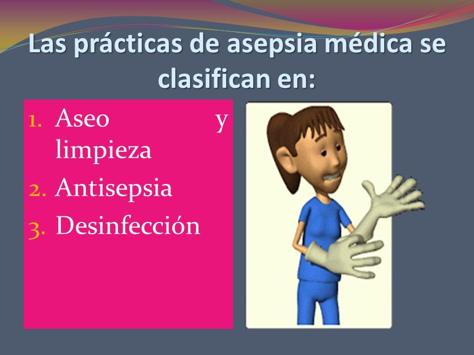 Las prácticas de asepsia médica se clasifican en: