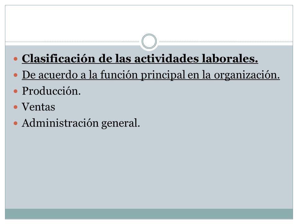 Clasificación de las actividades laborales.