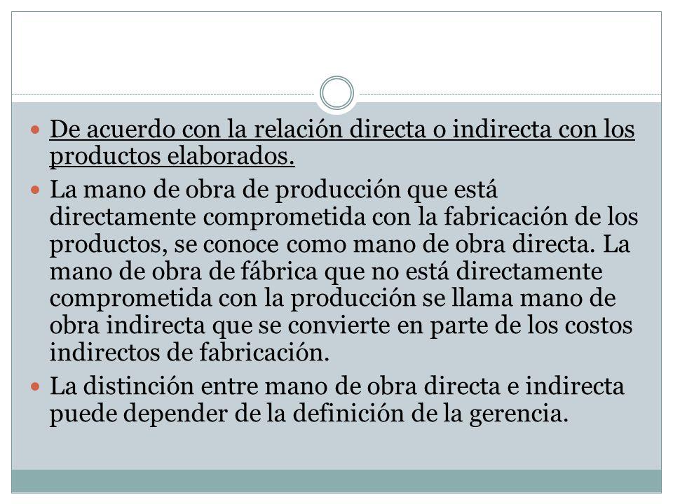 De acuerdo con la relación directa o indirecta con los productos elaborados.