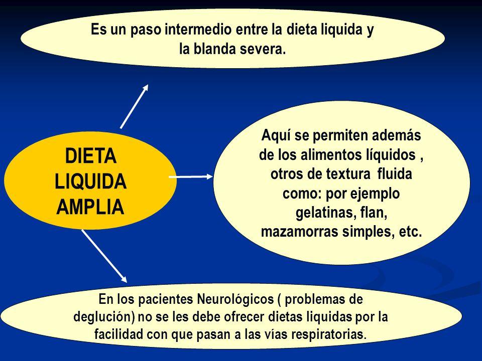 Es un paso intermedio entre la dieta liquida y la blanda severa.