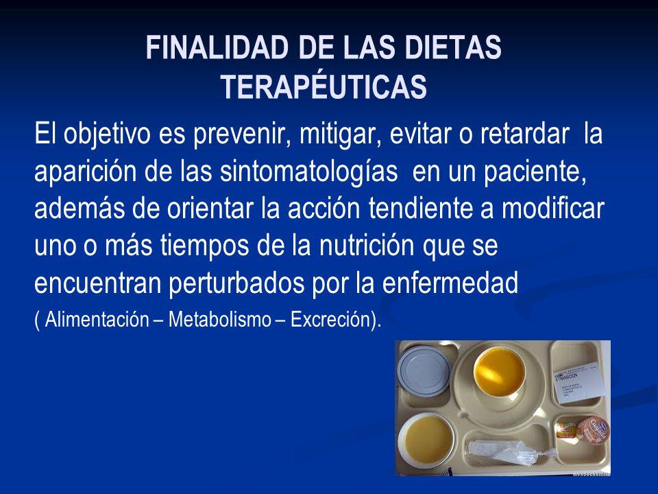 FINALIDAD DE LAS DIETAS TERAPÉUTICAS