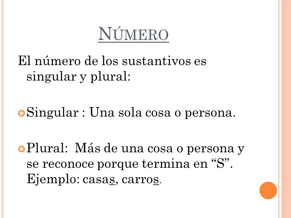 Resultado de imagen de el numero del sustantivo singular y plural
