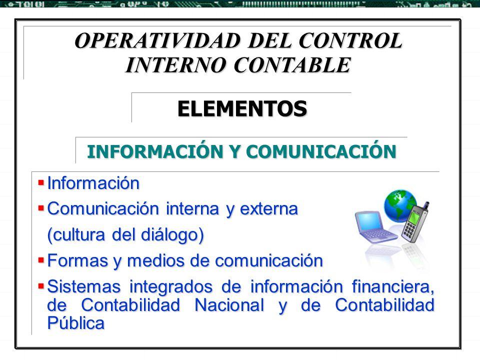 OPERATIVIDAD DEL CONTROL INTERNO CONTABLE INFORMACIÓN Y COMUNICACIÓN
