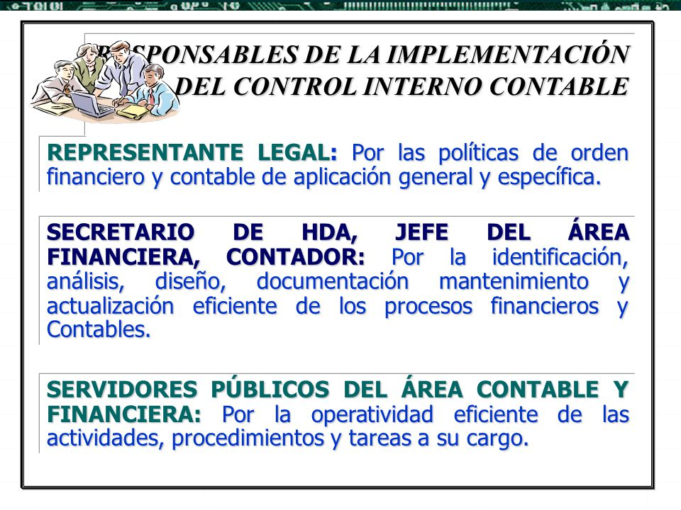 RESPONSABLES DE LA IMPLEMENTACIÓN DEL CONTROL INTERNO CONTABLE