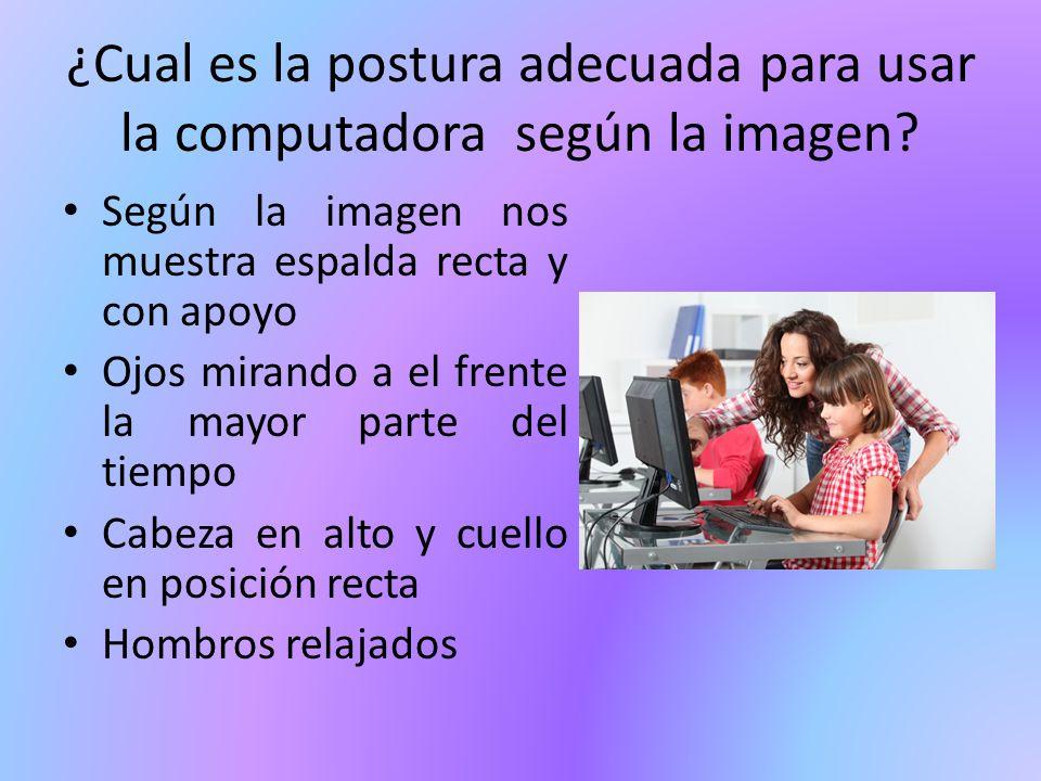 ¿Cual es la postura adecuada para usar la computadora según la imagen