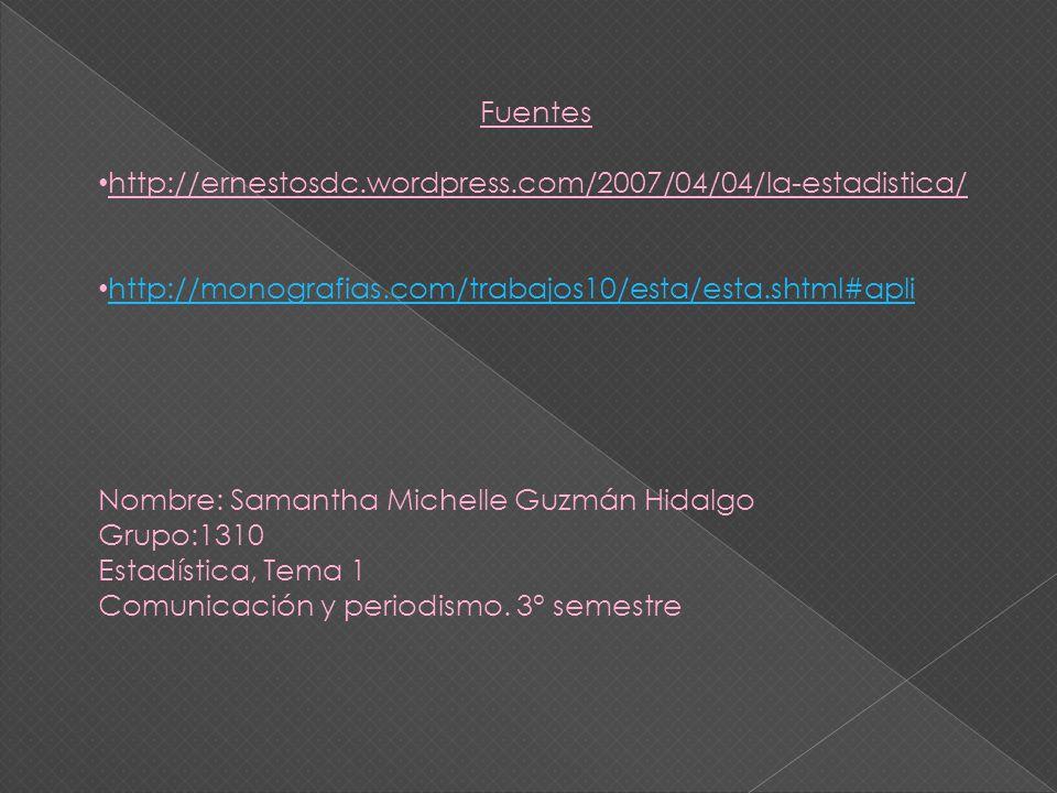 Fuentes http://ernestosdc.wordpress.com/2007/04/04/la-estadistica/ http://monografias.com/trabajos10/esta/esta.shtml#apli.