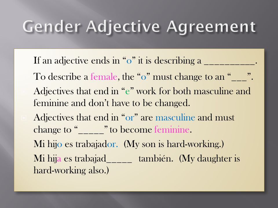Gender Adjective Agreement