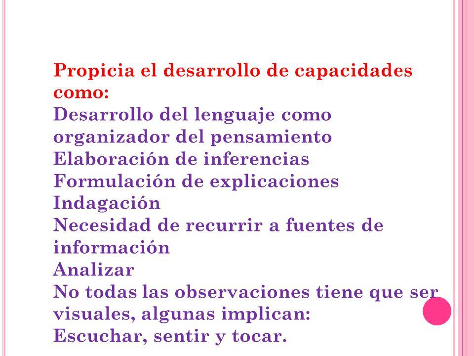 Propicia el desarrollo de capacidades como: