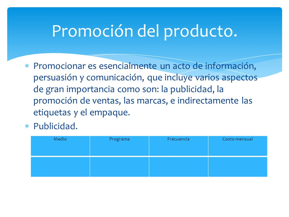 Promoción del producto.