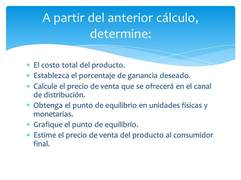 A partir del anterior cálculo, determine: