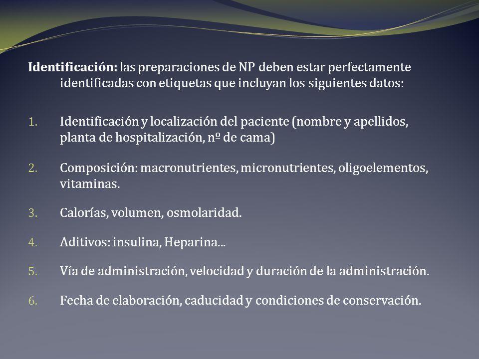 Identificación: las preparaciones de NP deben estar perfectamente identificadas con etiquetas que incluyan los siguientes datos: