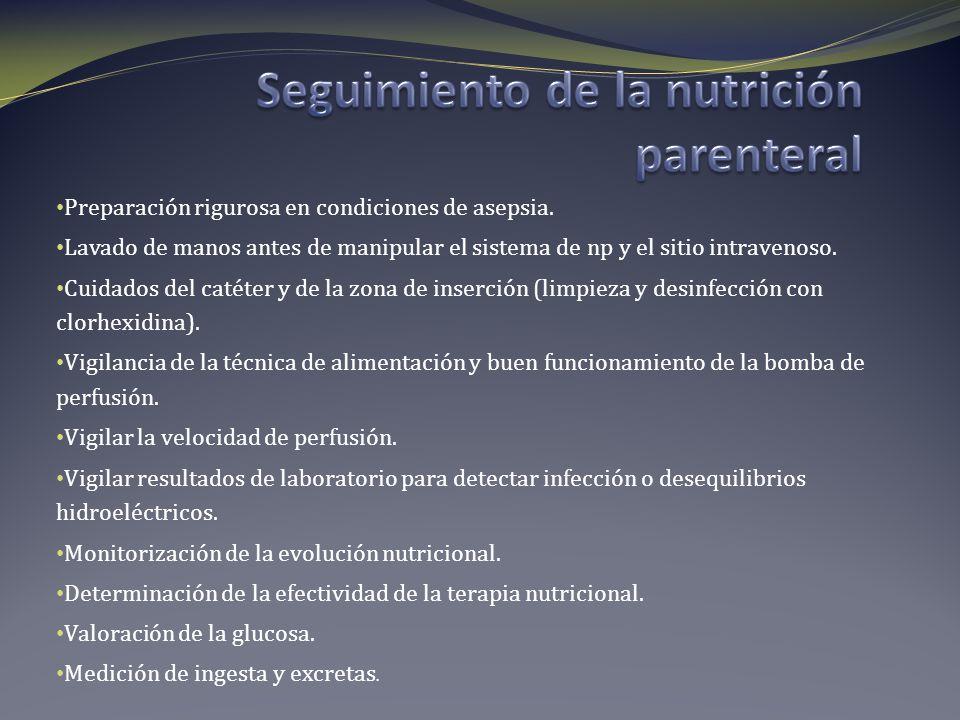 Seguimiento de la nutrición parenteral