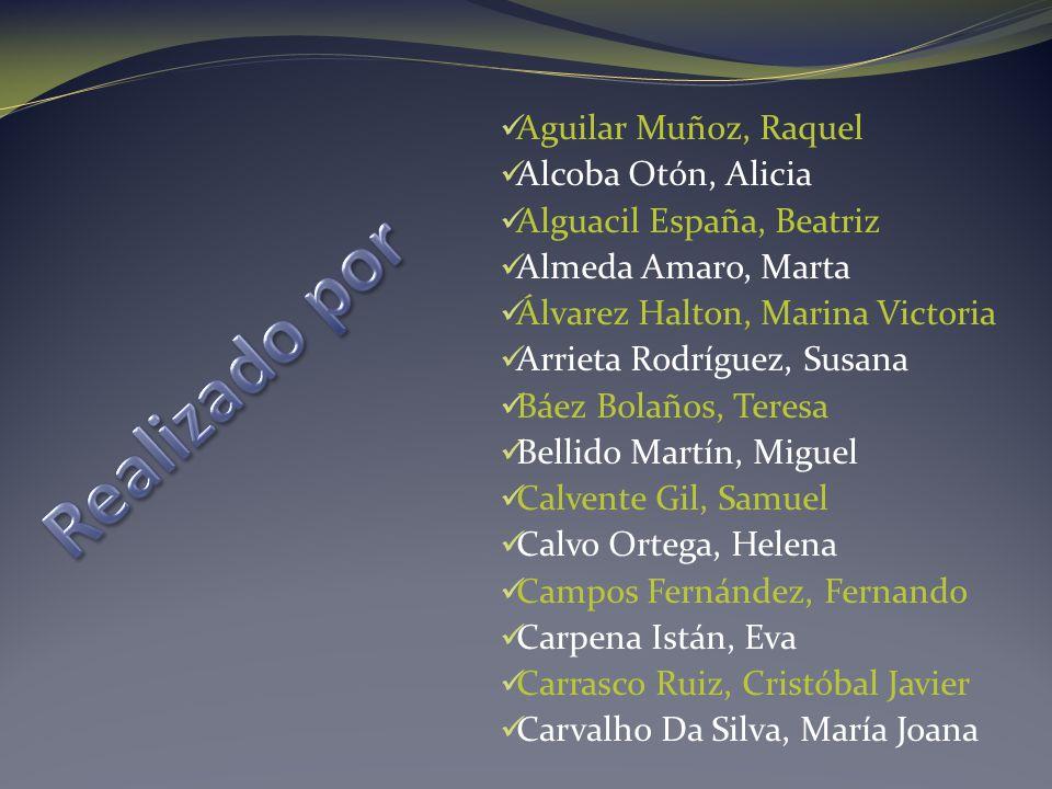 Realizado por Aguilar Muñoz, Raquel Alcoba Otón, Alicia