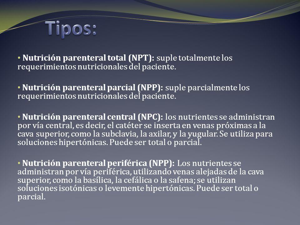 Tipos: Nutrición parenteral total (NPT): suple totalmente los requerimientos nutricionales del paciente.