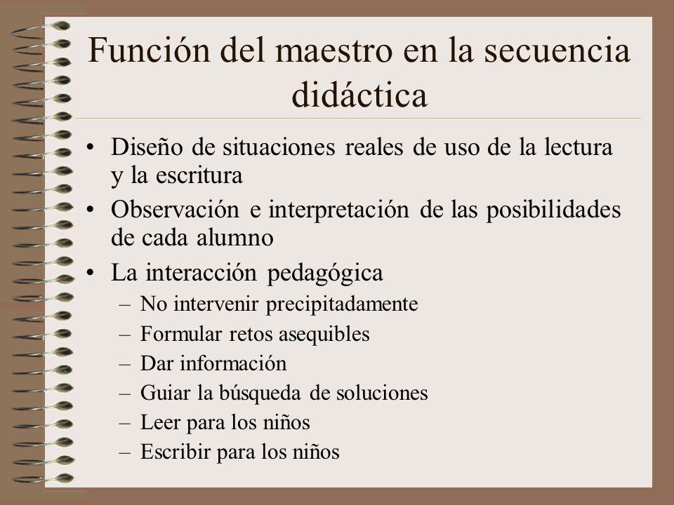 Función del maestro en la secuencia didáctica