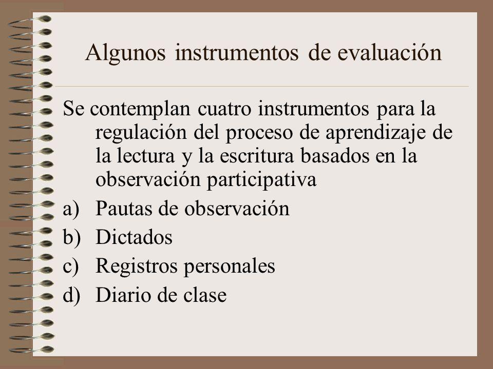 Algunos instrumentos de evaluación