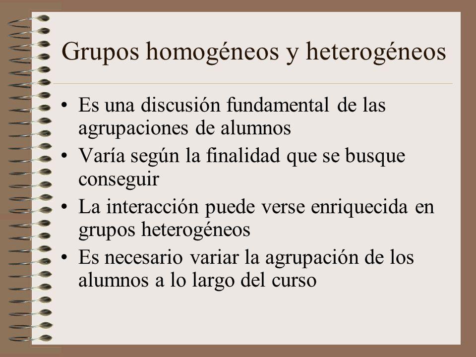 Grupos homogéneos y heterogéneos