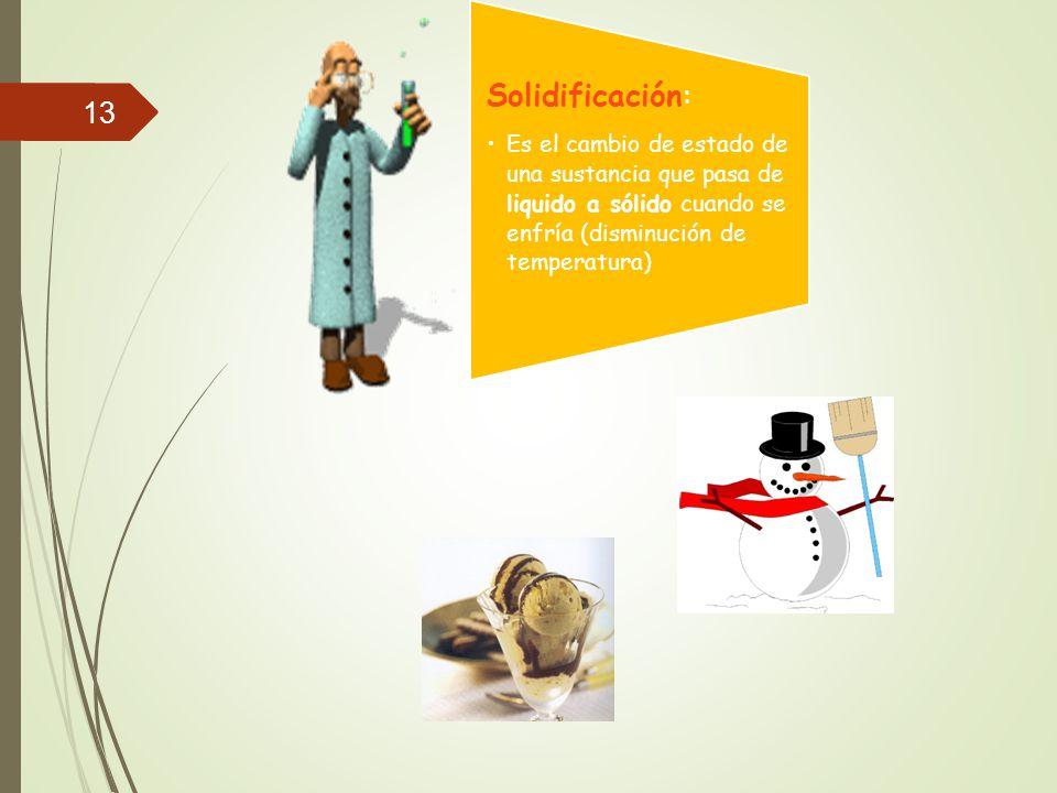 Solidificación: Es el cambio de estado de una sustancia que pasa de liquido a sólido cuando se enfría (disminución de temperatura)