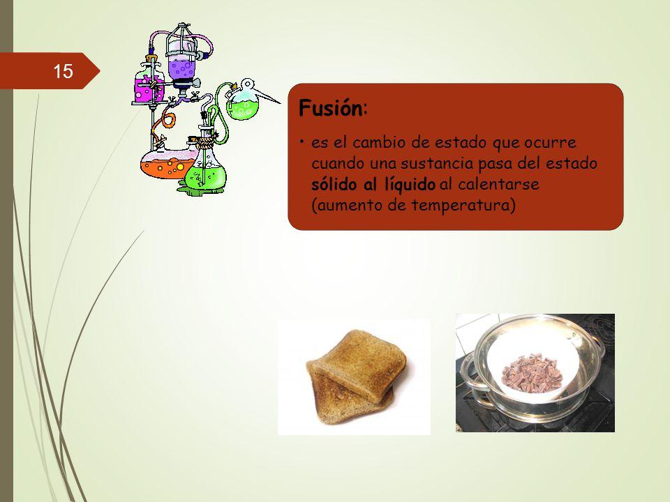 Fusión: es el cambio de estado que ocurre cuando una sustancia pasa del estado sólido al líquido al calentarse (aumento de temperatura)