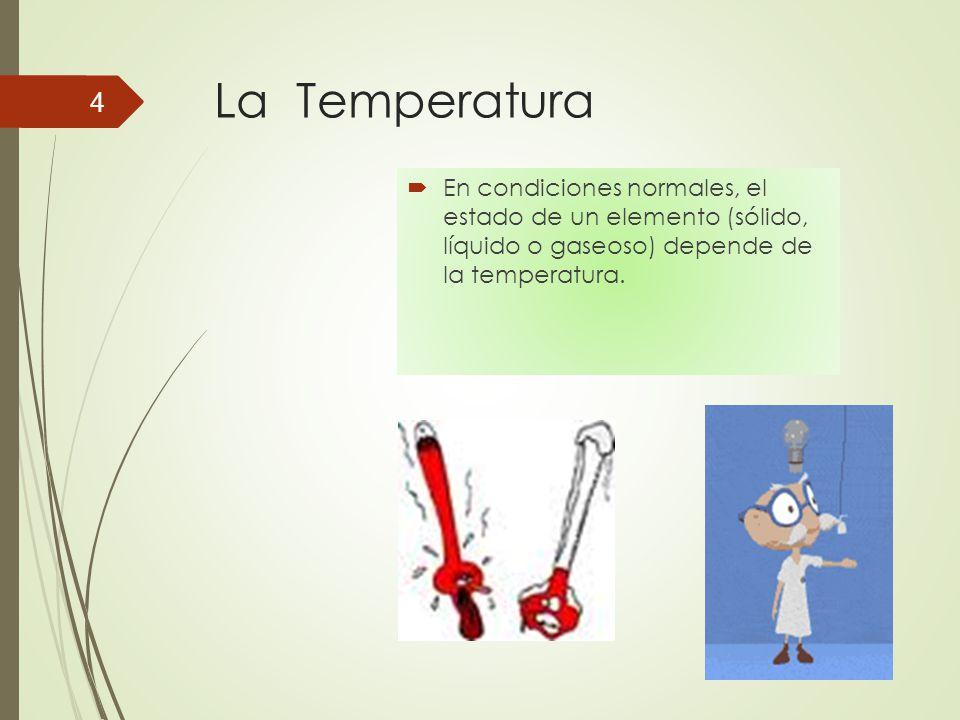 La Temperatura En condiciones normales, el estado de un elemento (sólido, líquido o gaseoso) depende de la temperatura.