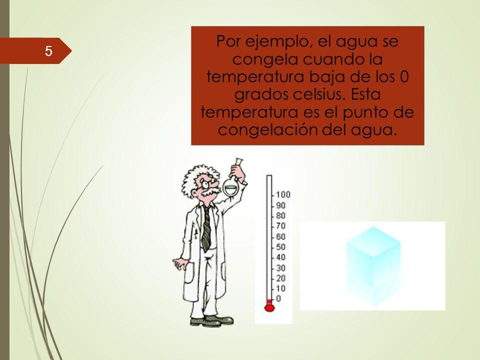 Por ejemplo, el agua se congela cuando la temperatura baja de los 0 grados celsius.