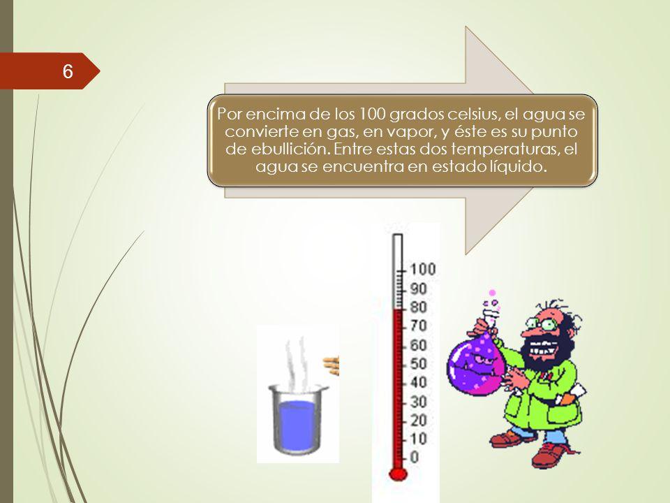 Por encima de los 100 grados celsius, el agua se convierte en gas, en vapor, y éste es su punto de ebullición.