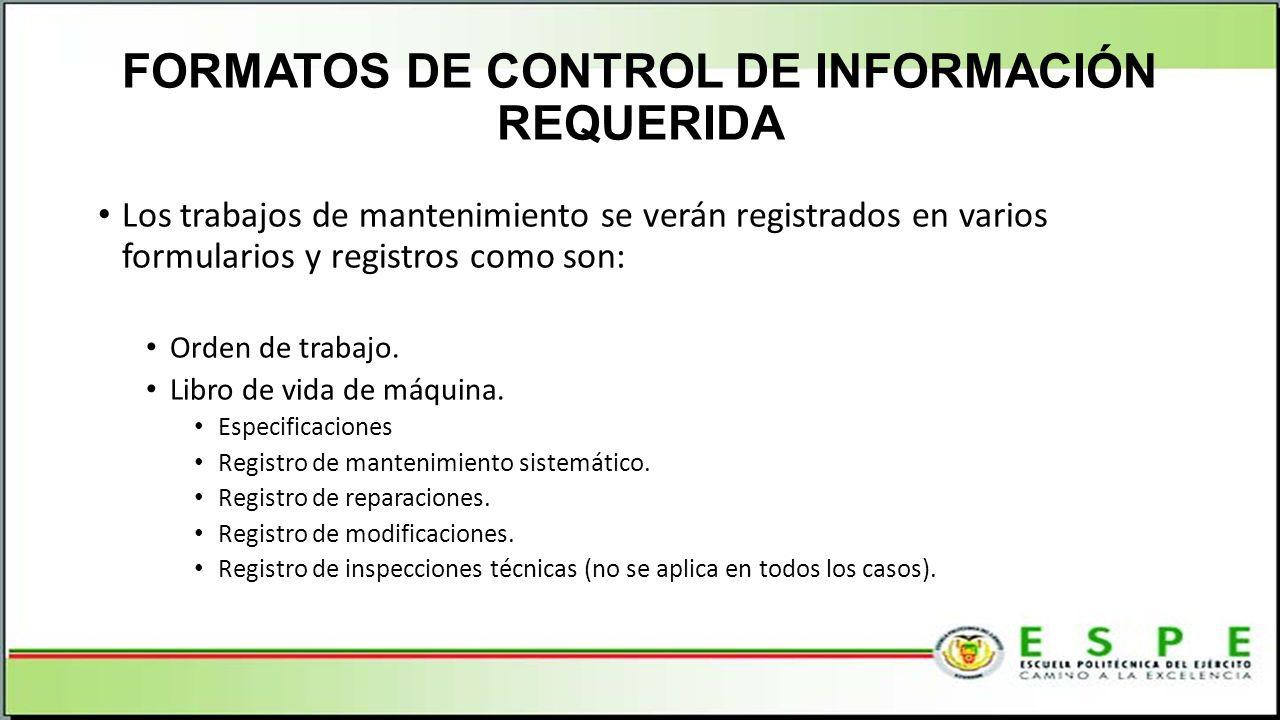 FORMATOS DE CONTROL DE INFORMACIÓN REQUERIDA