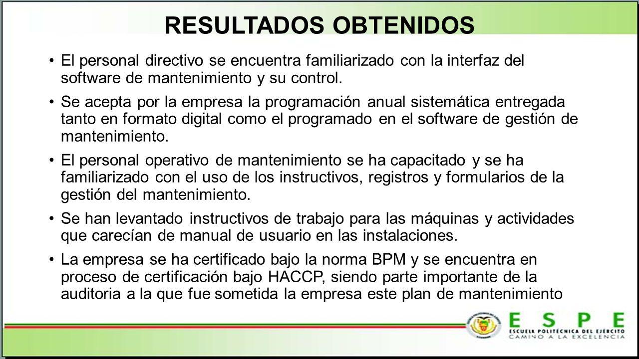 RESULTADOS OBTENIDOS El personal directivo se encuentra familiarizado con la interfaz del software de mantenimiento y su control.