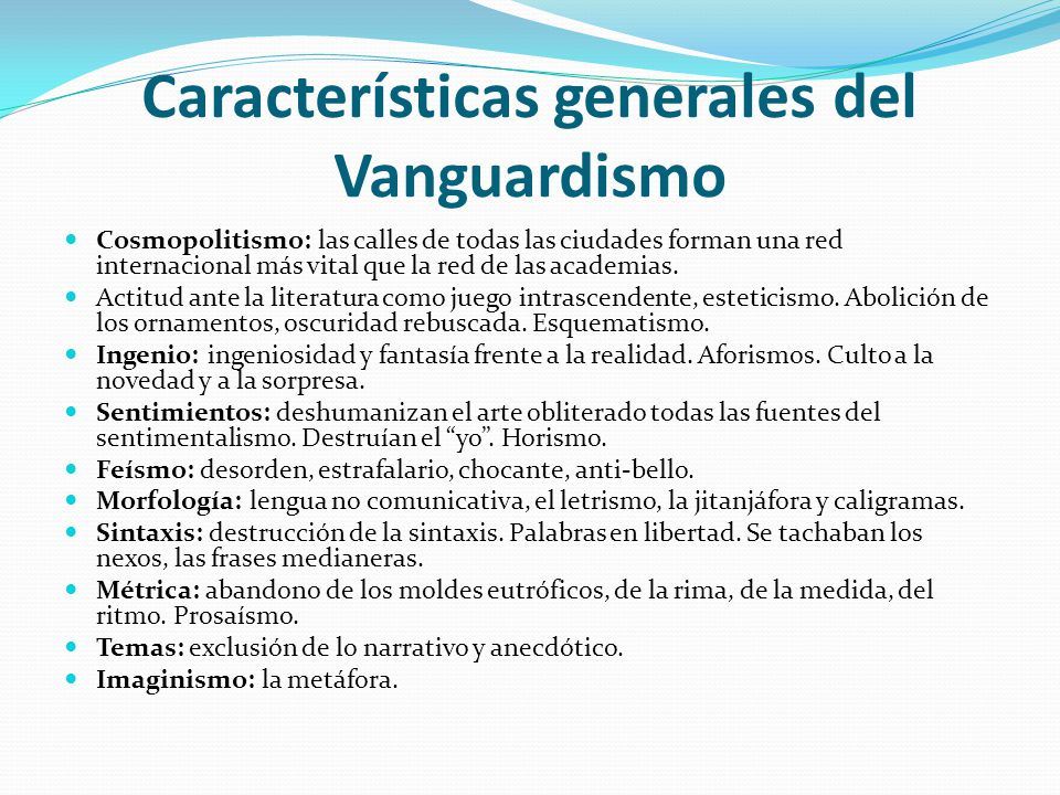 Movimientos de vanguardia en la literatura ppt video for Caracteristicas del vanguardismo