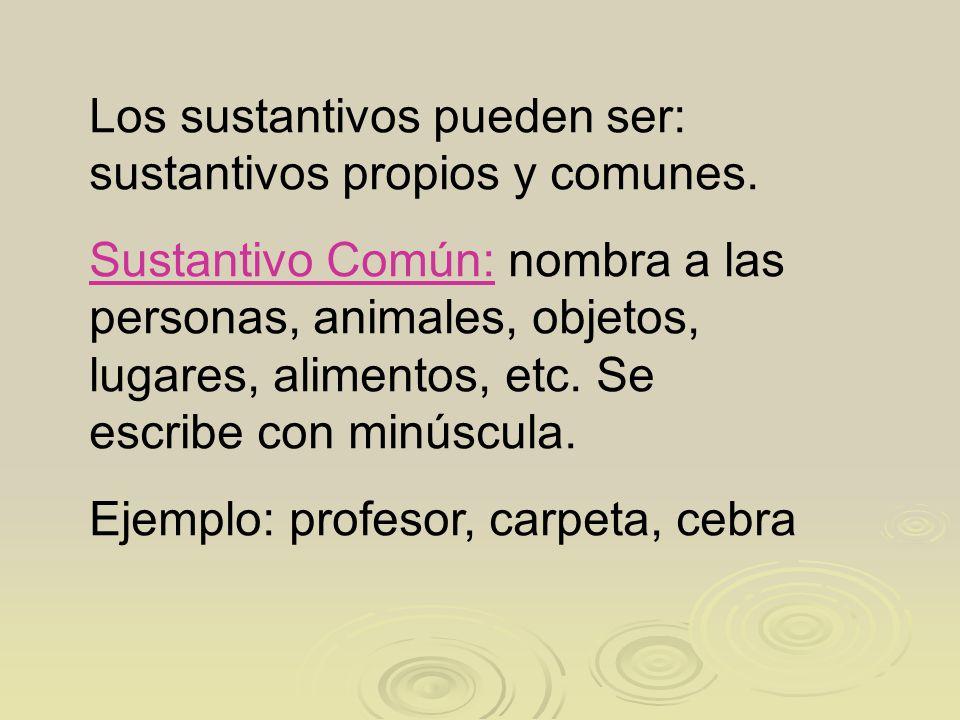 Los sustantivos pueden ser: sustantivos propios y comunes.