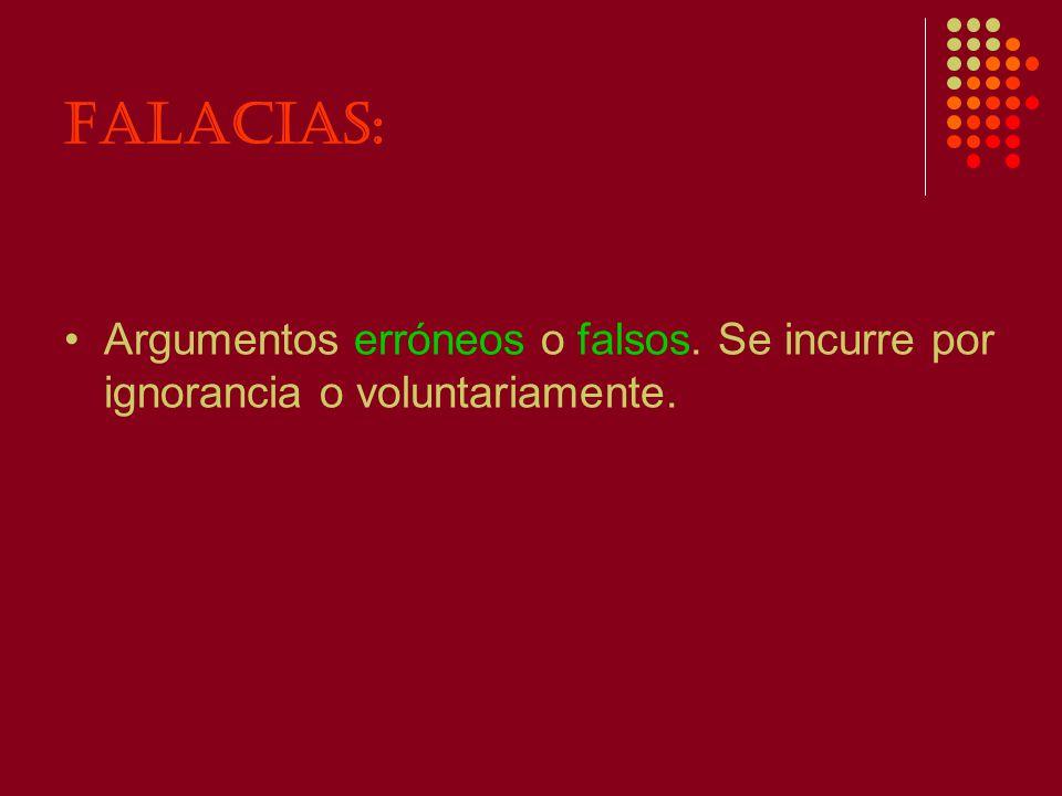 FALACIAS: Argumentos erróneos o falsos. Se incurre por ignorancia o voluntariamente.