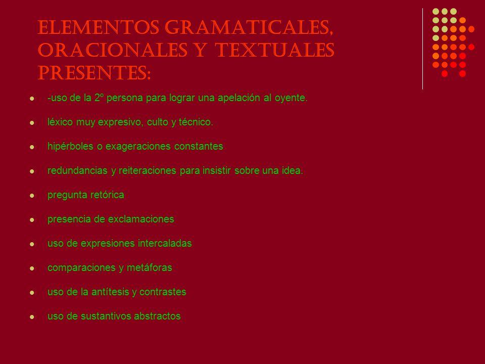 Elementos gramaticales, oracionales y textuales presentes:
