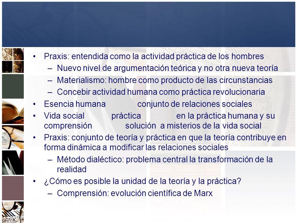 Praxis: entendida como la actividad práctica de los hombres