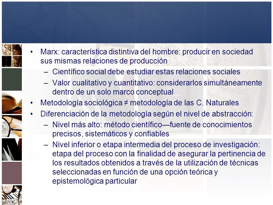 Marx: característica distintiva del hombre: producir en sociedad sus mismas relaciones de producción