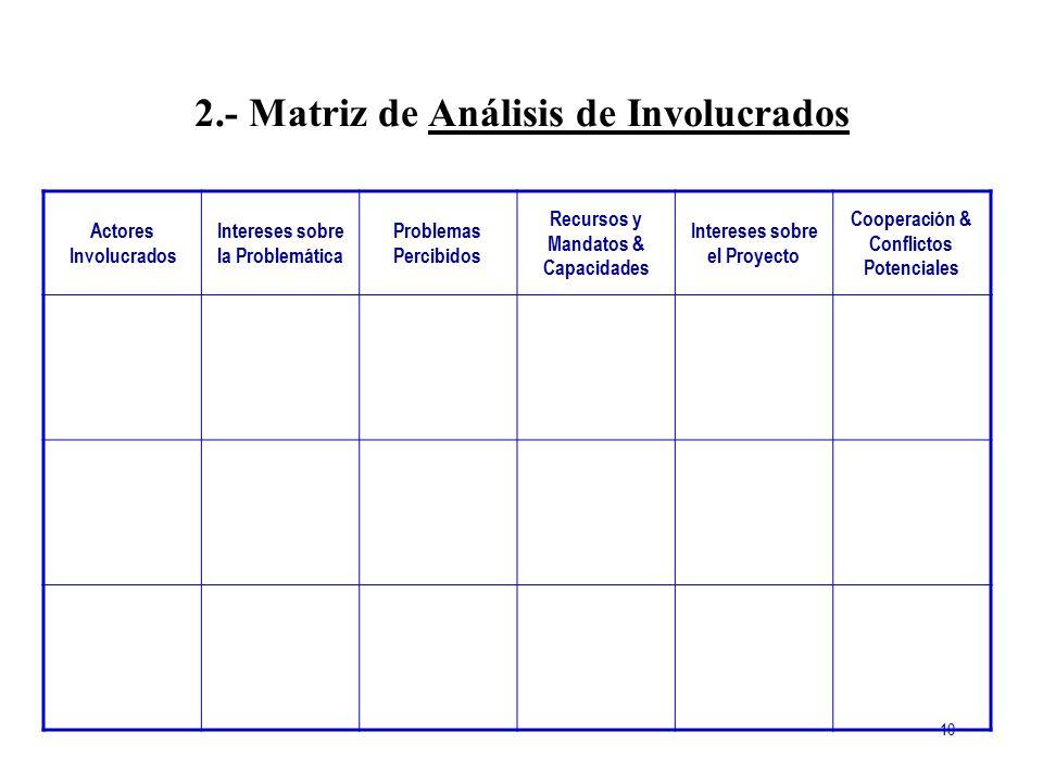 2.- Matriz de Análisis de Involucrados