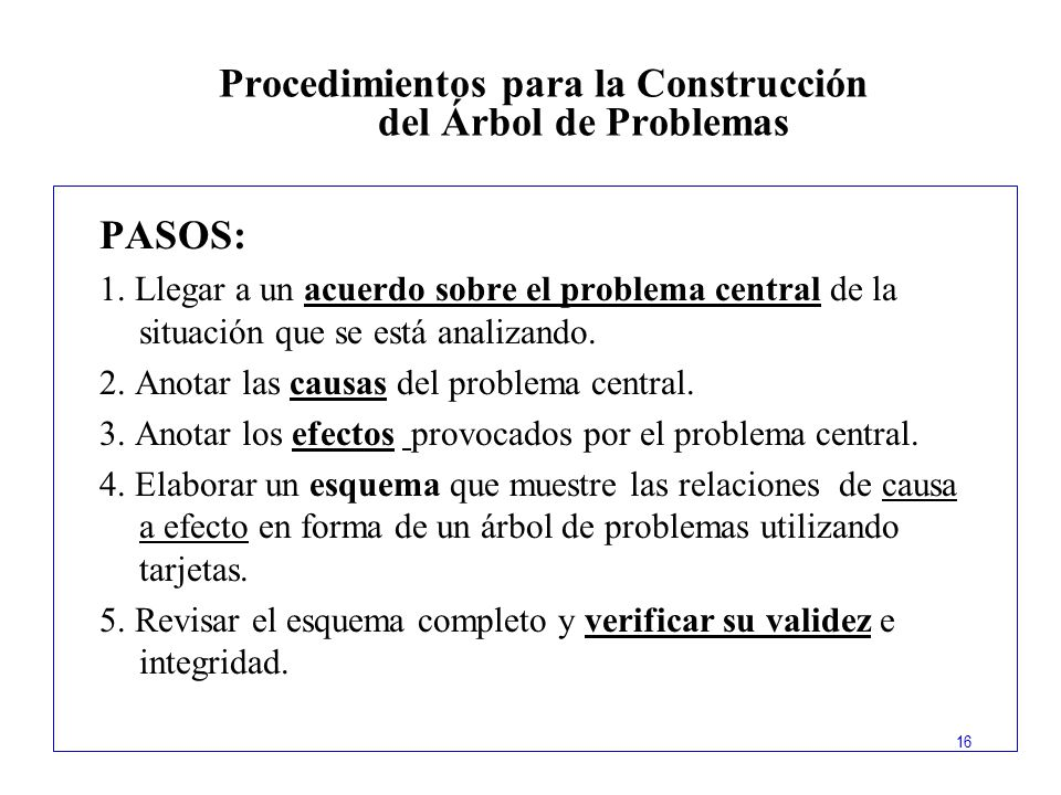 Procedimientos para la Construcción del Árbol de Problemas