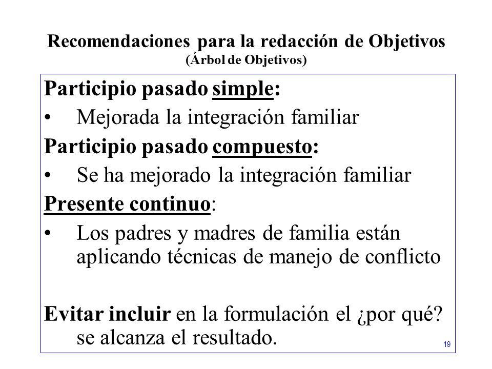 Recomendaciones para la redacción de Objetivos (Árbol de Objetivos)