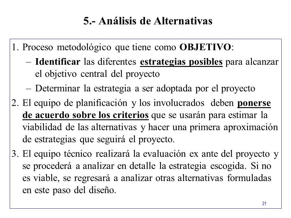 5.- Análisis de Alternativas