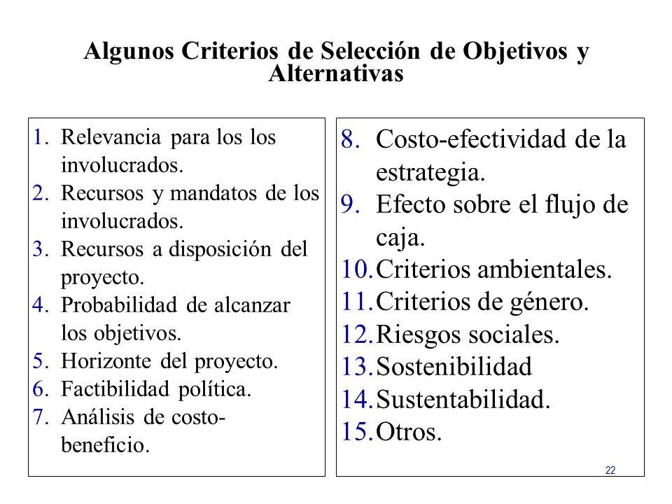Algunos Criterios de Selección de Objetivos y Alternativas
