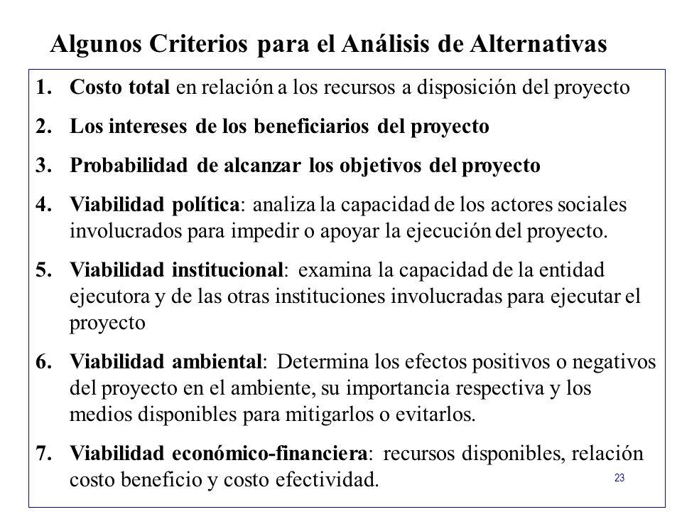 Algunos Criterios para el Análisis de Alternativas