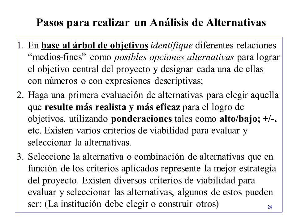 Pasos para realizar un Análisis de Alternativas