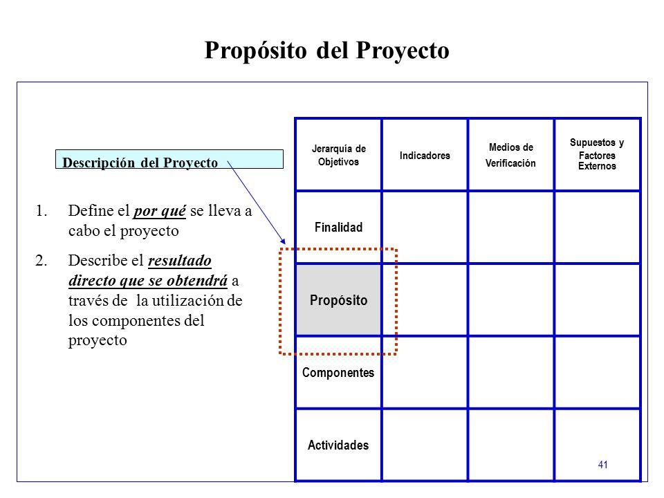 Propósito del Proyecto Jerarquía de Objetivos