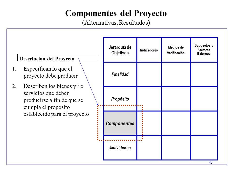 Componentes del Proyecto Jerarquía de Objetivos