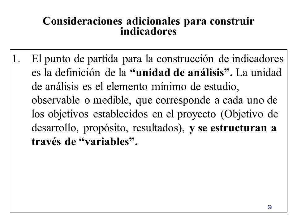 Consideraciones adicionales para construir indicadores