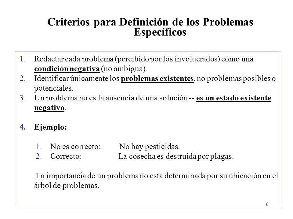 Criterios para Definición de los Problemas Específicos