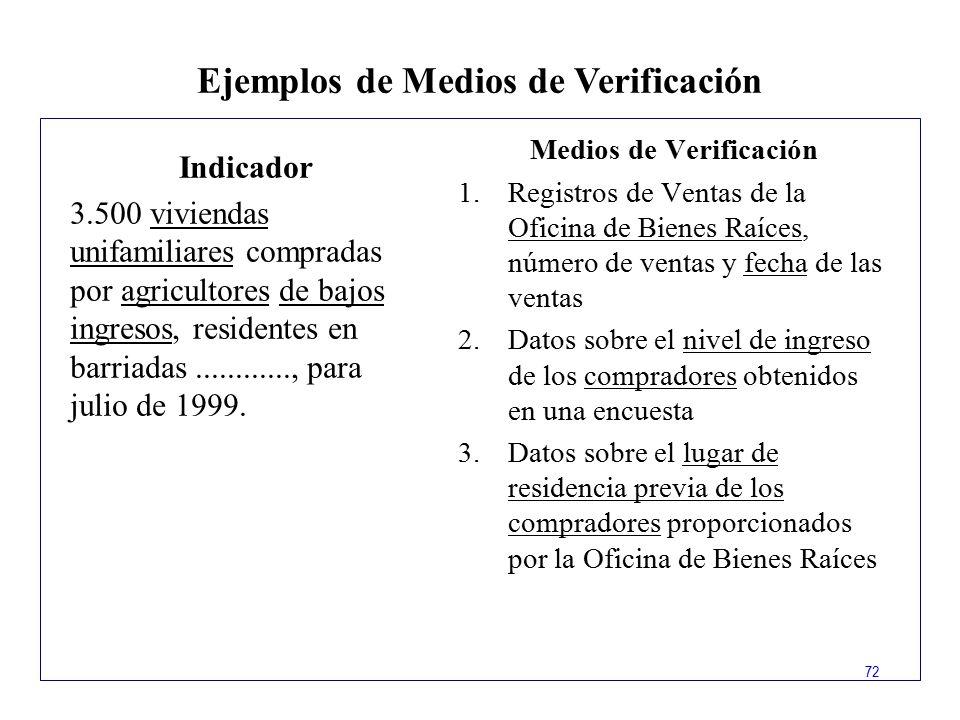Ejemplos de Medios de Verificación Medios de Verificación