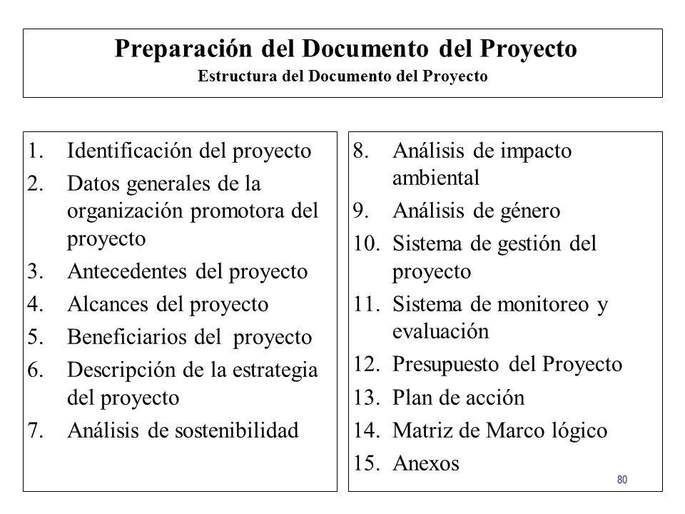 Preparación del Documento del Proyecto Estructura del Documento del Proyecto