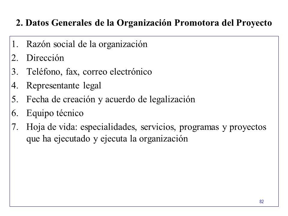 2. Datos Generales de la Organización Promotora del Proyecto
